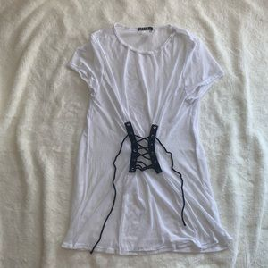 Tops - White Mesh Top with Black details size L